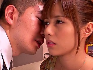 Asian Teen With Long Hair Pose Lovely Then Giving Her Guy Superb Blowjob